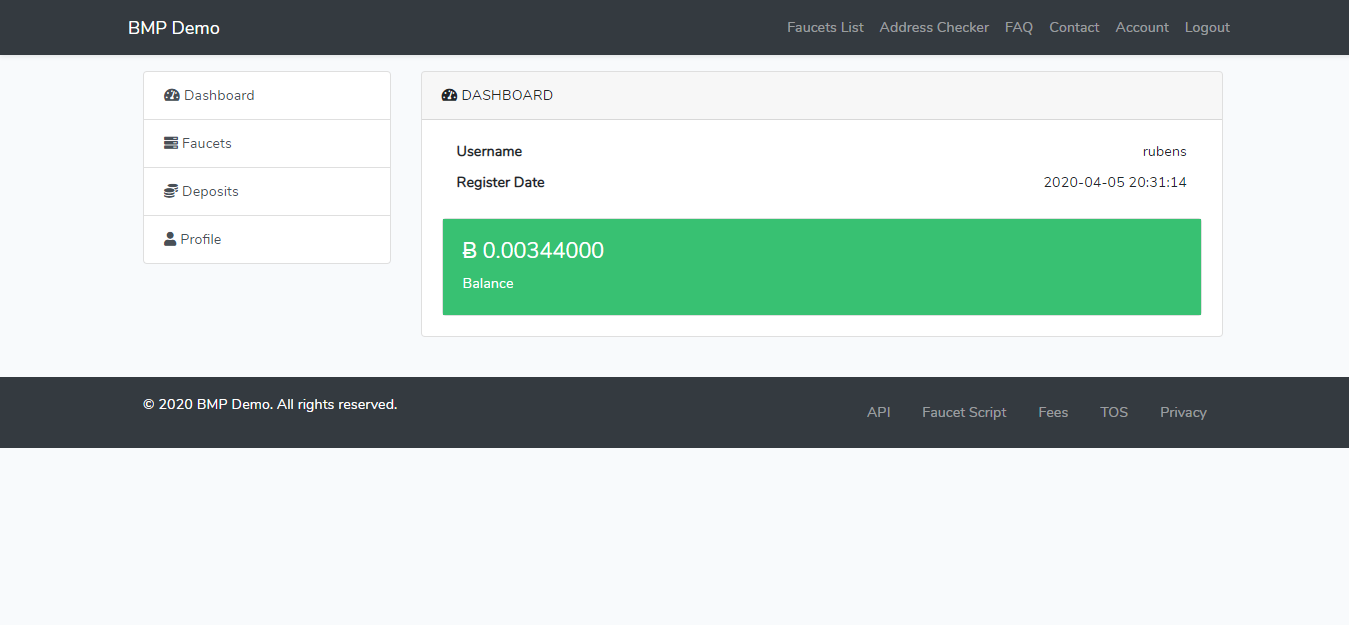 BMP - Bitcoin Microwallet Platform - Screen 2