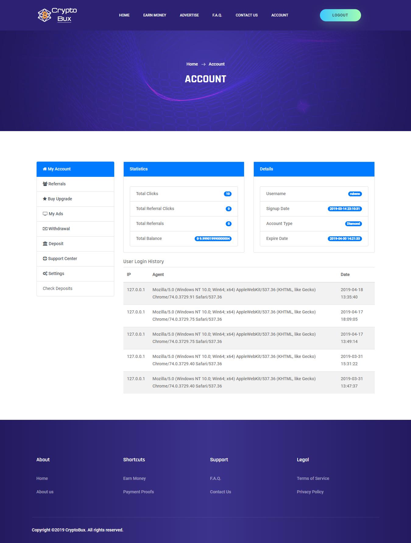 CryptoBux - Crypto Currency Ptc Script - Screen 4