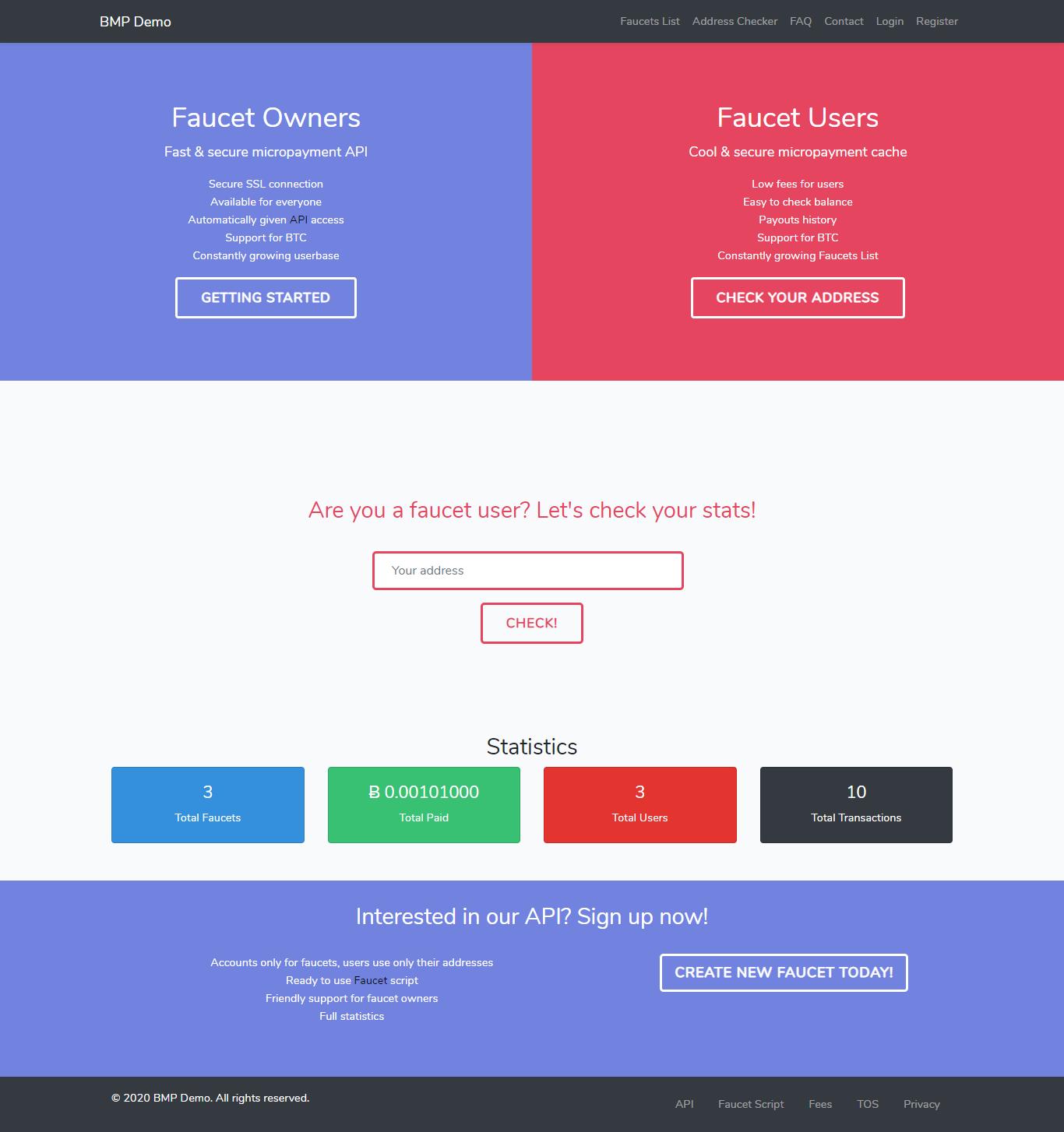 BMP - Bitcoin Microwallet Platform - Screen 1