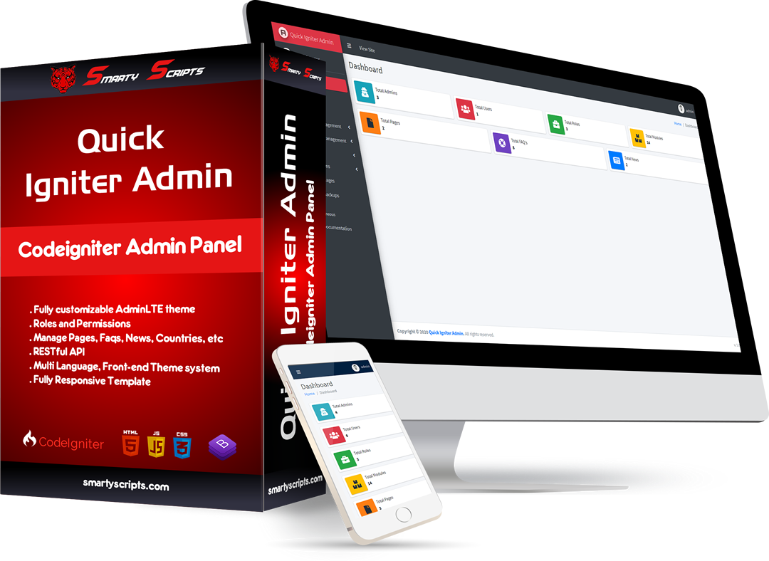 Quick Igniter Admin - Codeigniter Admin Panel - Preview