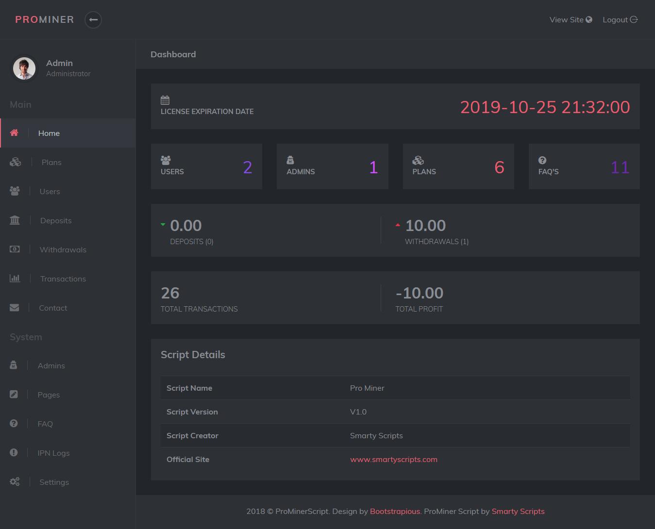ProMiner - Cloud Mining Script - Screen 3