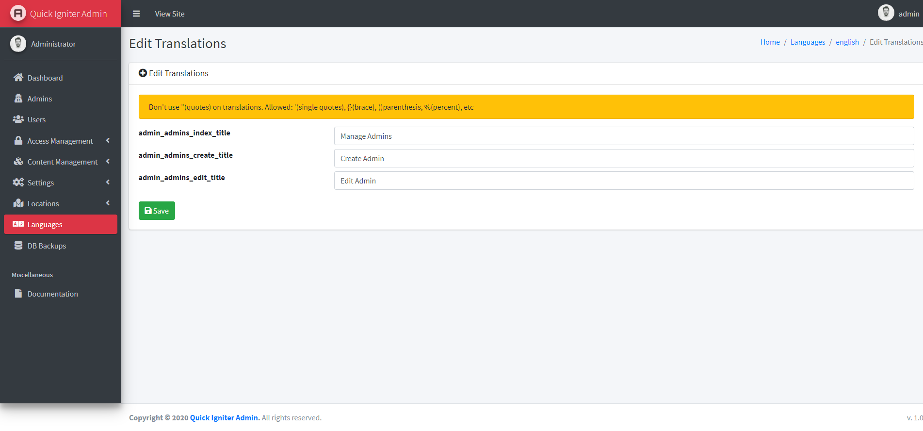 Quick Igniter Admin - Codeigniter Admin Panel - Screen 4