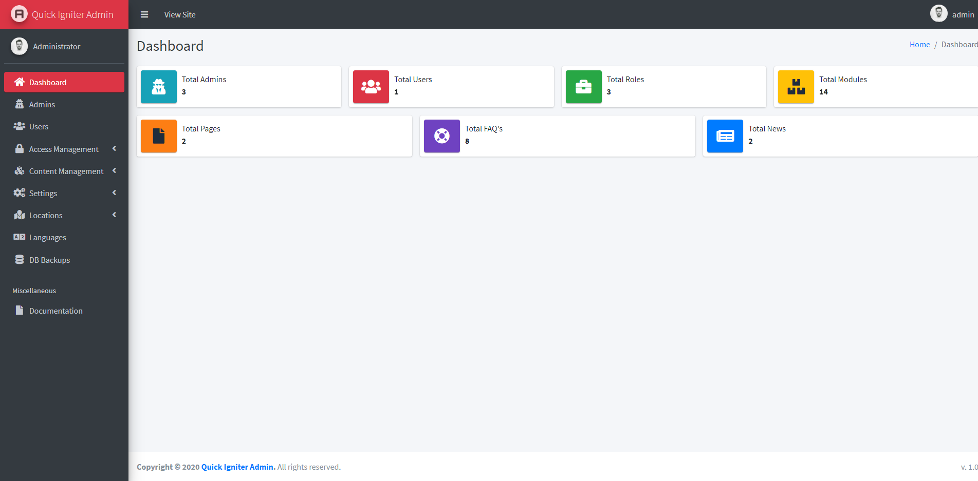 Quick Igniter Admin - Codeigniter Admin Panel - Screen 1